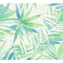 Designdschungel moderne Mustertapete mit Palmenprint blau grün 10,05 m x 0,53 m