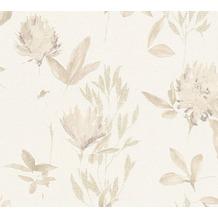 Designdschungel Vliestapete Tapete mit Blumenmuster beige braun metallic 10,05 m x 0,53 m