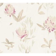 Designdschungel Vliestapete Tapete mit Blumenmuster beige metallic lila 10,05 m x 0,53 m