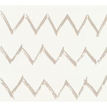 Designdschungel Vliestapete Tapete mit Zickzack Muster metallic weiß 365743 10,05 m x 0,53 m