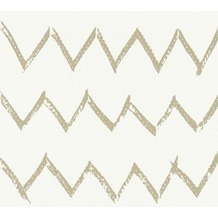 Designdschungel Vliestapete Tapete mit Zickzack Muster metallic weiß 365744 10,05 m x 0,53 m