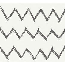 Designdschungel Vliestapete Tapete mit Zickzack Muster schwarz weiß 10,05 m x 0,53 m