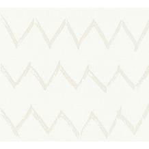 Designdschungel Vliestapete Tapete mit Zickzack Muster weiß metallic 10,05 m x 0,53 m