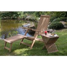 deVries Woodie Deckchair inkl. Auflage uni grey