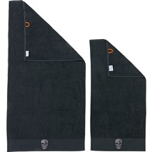 done.® Black Line Stone Skull 2er Handtuch Set  Black