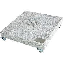 doppler Granit Grundplatte ca. 140kg, 80x80x8/14cm mit Rollen, Farbe grau, mit 4 Rollen