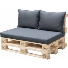 doppler Palettenkissen HIT 1x Sitz ca. 120x80x10 cm, 2x Rückenkissen je  ca. 60x45x12cm, D7840 anthrazit