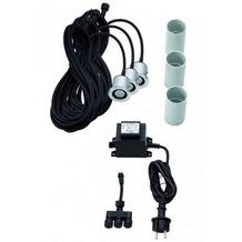 DOT-SPOT colorgarden LED-Einbauspot 230V / 12V, 3W, 3er Komplettset,warm white 3000K, 207lm, 40°, 5m