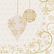 Duni Cocktail-Servietten, Tissue 3lagig, Motive, 20er 24 x 24 cm Ornate Xmas Cream