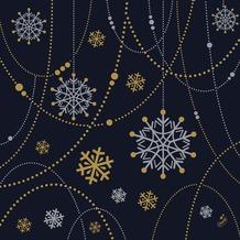 Duni Dunilin-Servietten Snowflake Necklace Black 40 x 40 cm 1/4 Falz 50 Stück