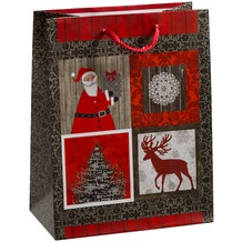 Duni Geschenktüten Motiv Santa's Reindeer 17,8 x 22,9 x 9,8 cm, 1 Stück