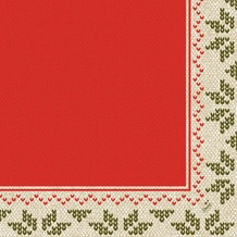 Duni Klassik-Servietten Urban Yule Red 40x40 cm 4lagig, geprägt, 1/4 Falz 50 Stück