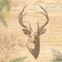 Duni Zelltuchservietten My Deer 33 x 33 cm 3-lagig 1/4 Falz 50 Stück