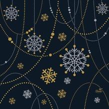 Duni Zelltuchservietten Snowflake Necklace Black 33 x 33 cm 3-lagig 1/4 Falz 50 Stück