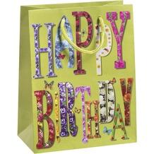Duni Geschenktüten   Trend 17,8 x 22,9 x 9,8 cm Motiv  1 Stück Happy Birthday
