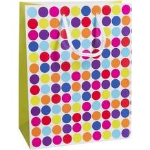 Duni Geschenktüten Trend Motiv Dots White, 17,8 x 22,9 x 9,8 cm