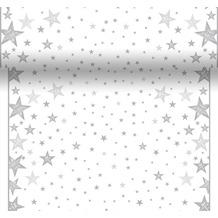 Duni Tischläufer 3 in 1 Dunicel® 0,4 x 4,8 m Shining Star White 1er Pack