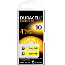 Duracell Batterie Zinc Air - Hearing Aid - 10 - 1.4V Easy Tab - (6-Pack)