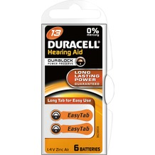 Duracell Batterie Zinc Air, Hearing Aid, 13, 1.4V Easy Tab, Retail Blister (6-Pack)