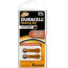 Duracell Batterie Zinc Air, Hearing Aid, 312, 1.4V Easy Tab, Retail Blister (6-Pack)