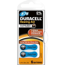 Duracell Batterie Zinc Air, Hearing Aid, 675, 1.4V Easy Tab, Retail Blister (6-Pack)