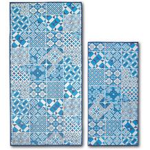 Dyckhoff Frottierserie Blue Island hellblau Fliesenoptik Handtuch 50 x 100 cm, 6 Stück