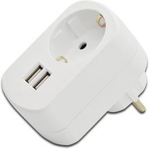 ednet Steckdose und 2x USB-Port (bis 3,1A) Adapter, weiss