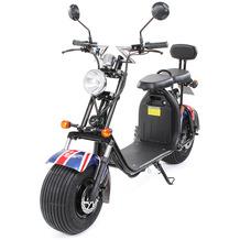 eFlux Chopper Two Elektro Scooter UK Flag mit Straßenzulassung, 1500 Watt 60 Volt