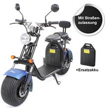 eFlux Chopper Two elektro Scooter mattblau mit Straßenzulassung, 1500 Watt 60 Volt + Ersatzakku
