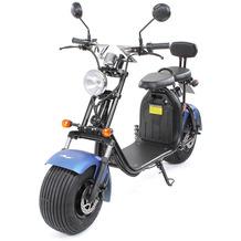 eFlux Chopper Two Elektro Scooter mattblau mit Straßenzulassung, 1500 Watt 60 Volt