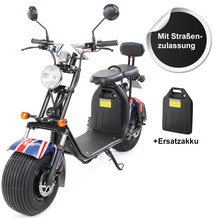eFlux Chopper Two Elektro Scooter UK Flag mit Straßenzulassung, 1500 Watt 60 Volt + Ersatzakku