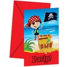 """PROCOS Einladungskarte + Briefumschlag, Motiv """"Little Pirates"""", je 6 Stück"""
