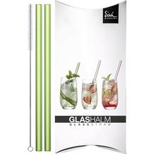 Eisch Gentleman Glashalm-Set 998/11 grün (2x) mit Bürste im Geschenkkarton