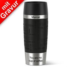 emsa Isolierbecher MIT GRAVUR - OBEN & UNTEN - (z.B. Namen) TRAVEL MUG Manschette schwarz 360ml