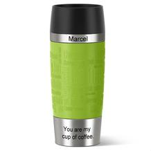 emsa Isolierbecher MIT GRAVUR - OBEN & UNTEN - (z.B. Namen) TRAVEL MUG Manschette limette grün 360ml