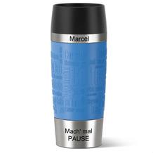 emsa Isolierbecher MIT GRAVUR -OBEN & UNTEN- (z.B. Namen) TRAVEL MUG Manschette wasserblau 360ml hellblau
