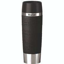 emsa Isolierbecher MIT GRAVUR - OBEN - (z.B. Namen) TRAVEL MUG Grande XXL Manschette Schwarz 500ml