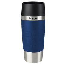 emsa Isolierbecher MIT GRAVUR - OBEN - (z.B. Namen) TRAVEL MUG Manschette blau 360ml
