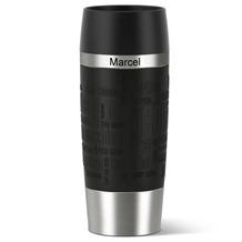 emsa Isolierbecher MIT GRAVUR - OBEN - (z.B. Namen) TRAVEL MUG Manschette schwarz 360ml