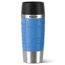 emsa Isolierbecher MIT GRAVUR - OBEN - (z.B. Namen) TRAVEL MUG Manschette wasserblau 360ml hellblau