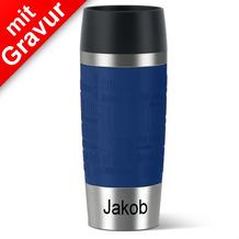 emsa Isolierbecher MIT GRAVUR (z.B. Name Jakob) TRAVEL MUG Manschette blau 360ml Geschenke mit Namen