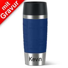 emsa Isolierbecher MIT GRAVUR (z.B. Name Kevin) TRAVEL MUG Manschette blau 360ml Geschenke mit Namen