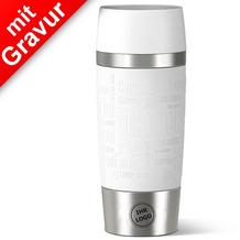emsa Isolierbecher MIT GRAVUR (z.B. Logo) TRAVEL MUG Manschette weiß 360ml