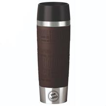 emsa Isolierbecher MIT GRAVUR (z.B. Logo) TRAVEL MUG Grande XXL Manschette Braun 500ml