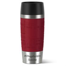 emsa Isolierbecher MIT GRAVUR (z.B. Alltagsheld + Namen) TRAVEL MUG Manschette rot, 0,36 Liter