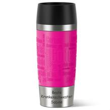 emsa Isolierbecher MIT GRAVUR (z.B. Krankenschwester + Namen) TRAVEL MUG Manschette Himbeere pink 0,36 Liter