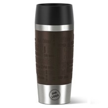 emsa Isolierbecher MIT GRAVUR (z.B. Logo) TRAVEL MUG Manschette Braun 360ml
