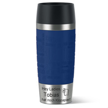 emsa Isolierbecher MIT GRAVUR (z.B. Spruch Hey Ladies - Klopapier + Name) TRAVEL MUG Manschette blau 360ml