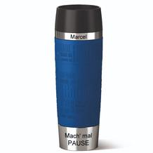 emsa Isolierbecher MIT GRAVUR - OBEN & UNTEN - (z.B. Namen) TRAVEL MUG Grande XXL Manschette Blau 500ml