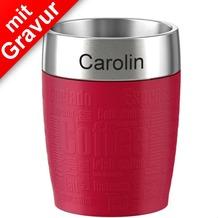 emsa Isolierbecher TRAVEL CUP MIT GRAVUR (z.B. Namen) Rot, 0,20 Liter